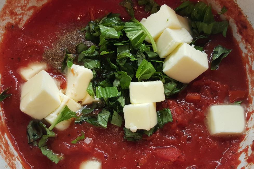 creamy tomato soup in pot
